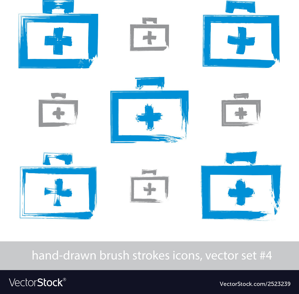 Set of brush drawing simple blue first aid kit vector   Price: 1 Credit (USD $1)