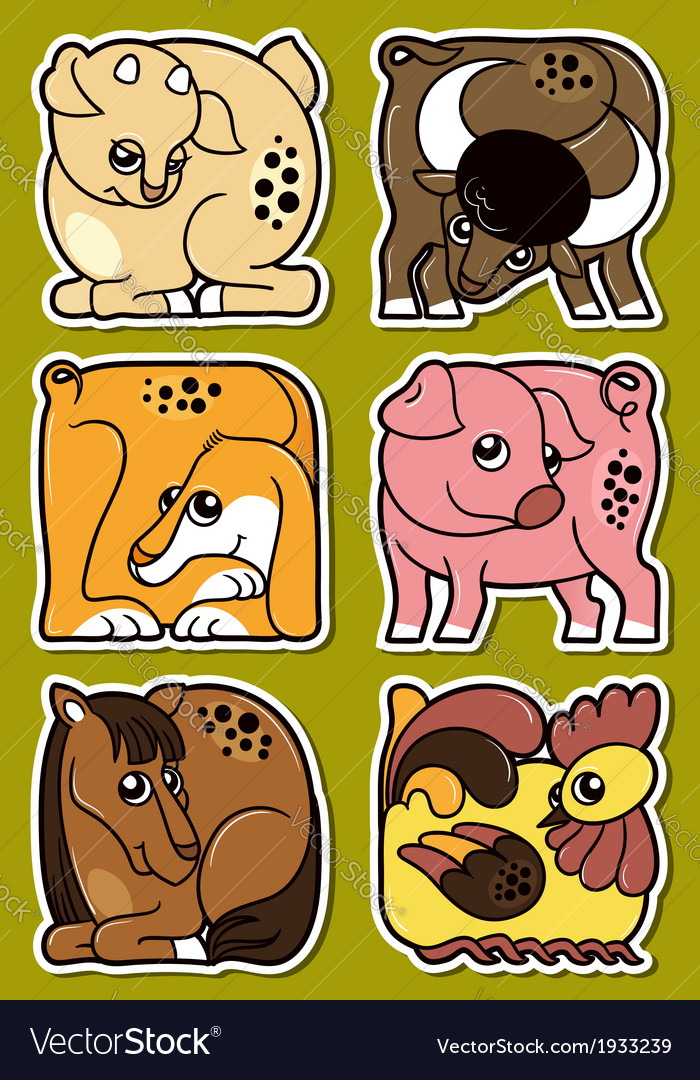 Set of cartoon domestic farm animal stickers vector | Price: 3 Credit (USD $3)