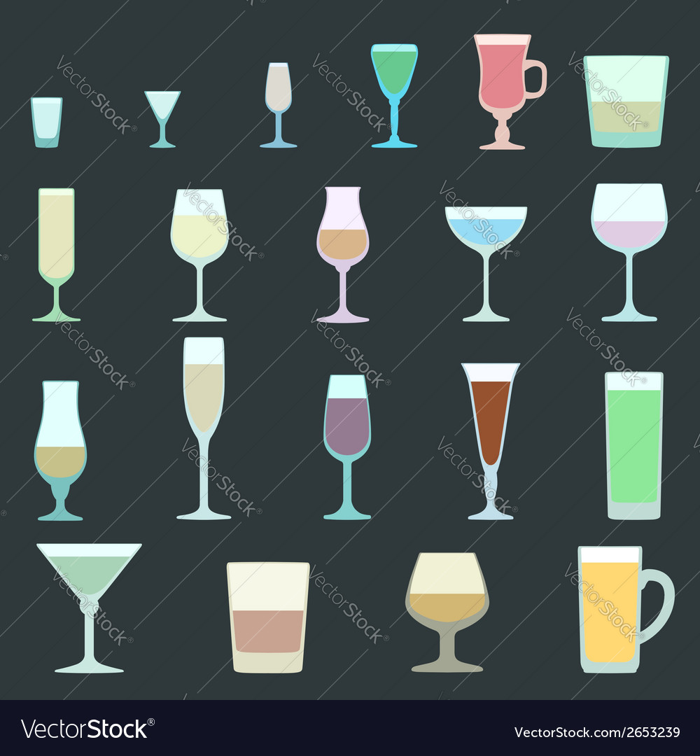Solid colors alcohol glasses set vector | Price: 1 Credit (USD $1)