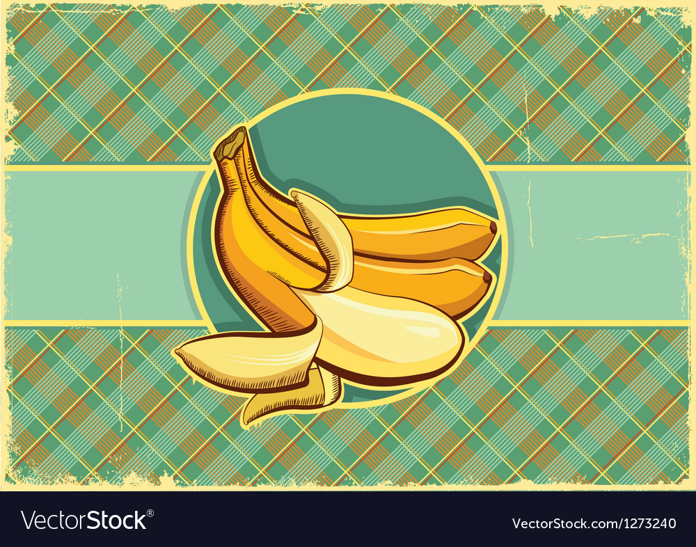 Bananas label vintage fruits vector | Price: 3 Credit (USD $3)