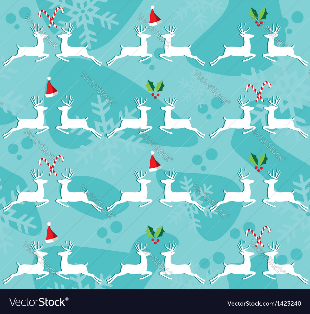 Christmas reindeer seamless pattern background vector | Price: 1 Credit (USD $1)