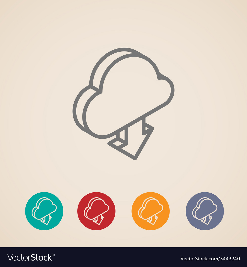 Cloud with download arrow isometric icons vector   Price: 1 Credit (USD $1)