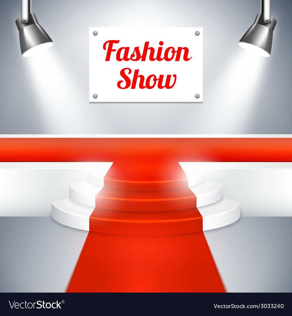Fashion show catwalk with a red carpet vector