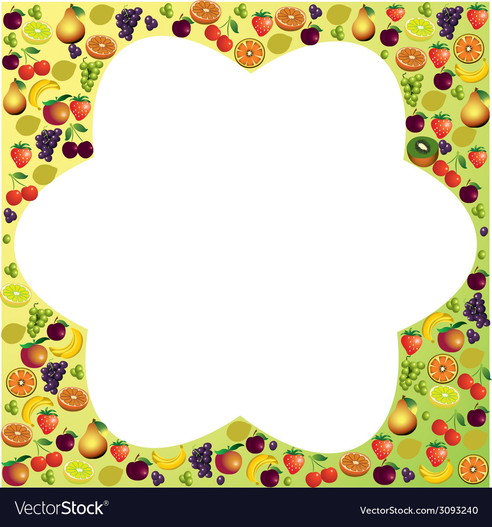 Fruits frame made with different fruits healthy vector | Price: 1 Credit (USD $1)