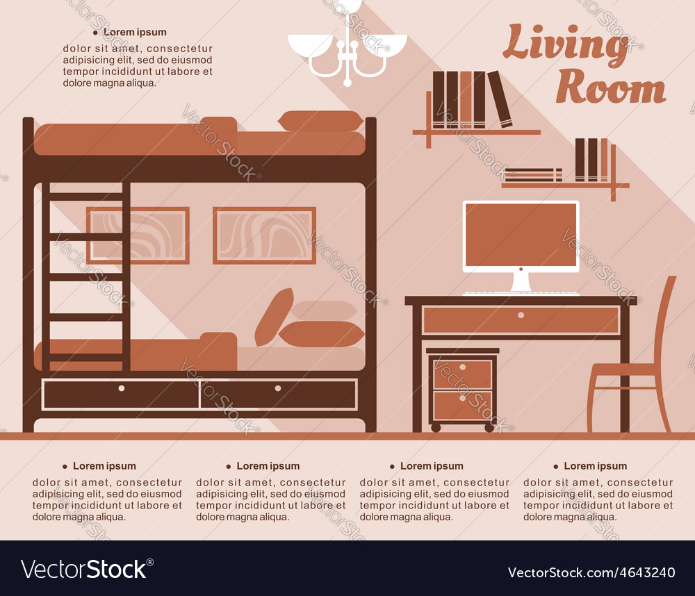 Living room interior decor infographic vector | Price: 1 Credit (USD $1)