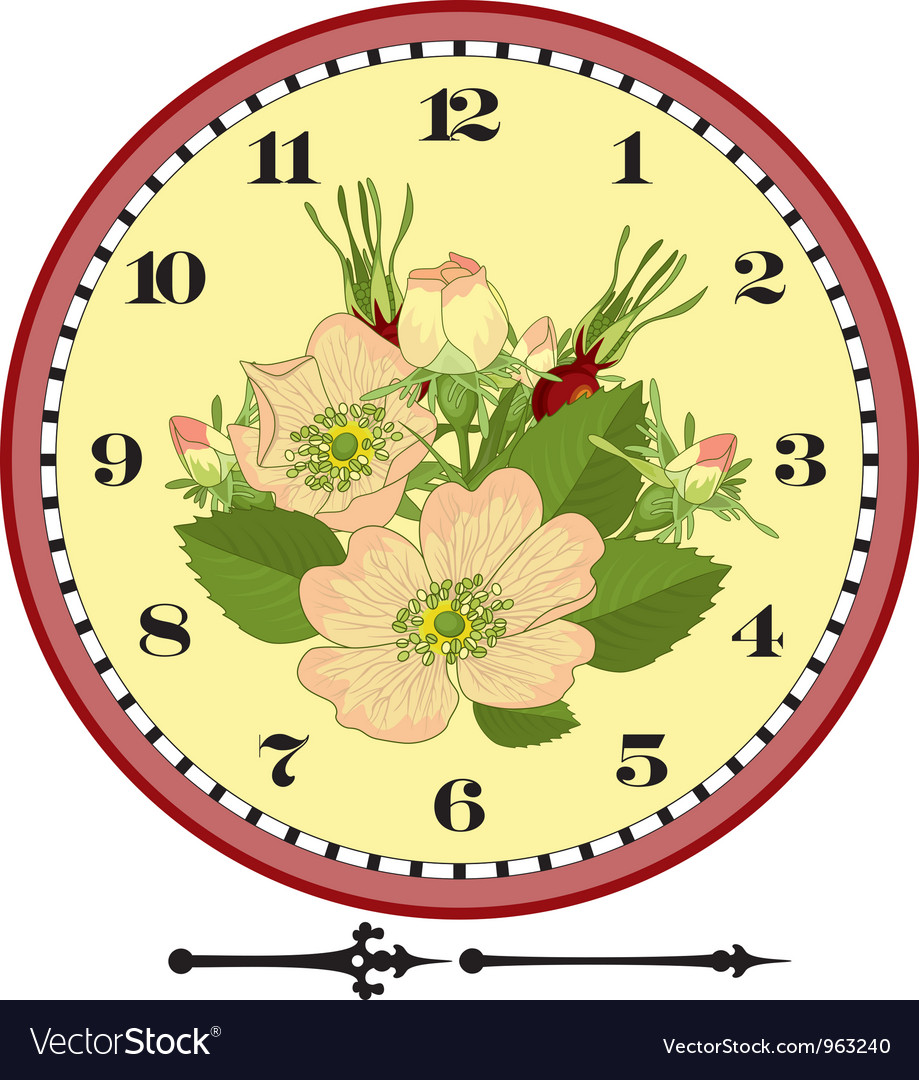 Retro flower clock dial vector | Price: 1 Credit (USD $1)