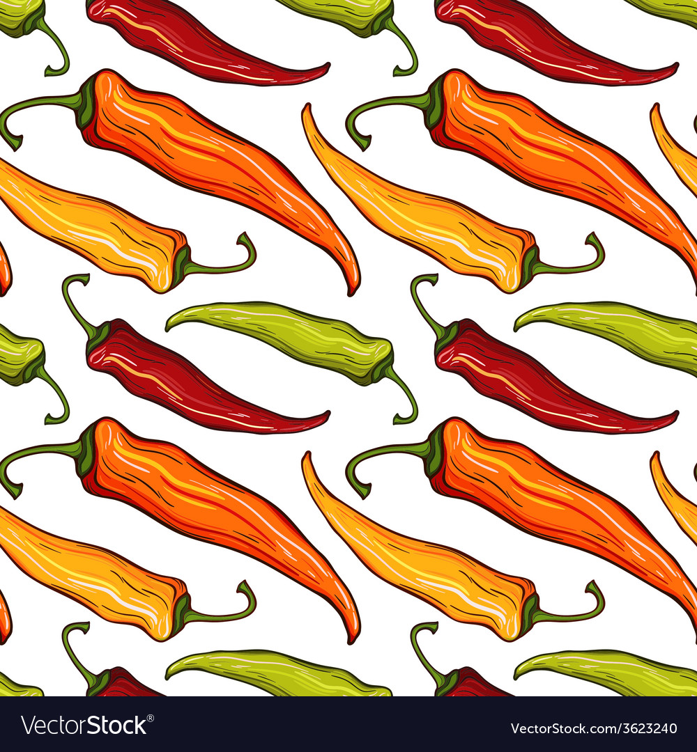 Seamless pattern with decorative chili peppers vector | Price: 1 Credit (USD $1)