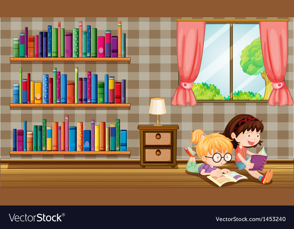Two girls reading books beside the bookshelves vector | Price: 1 Credit (USD $1)
