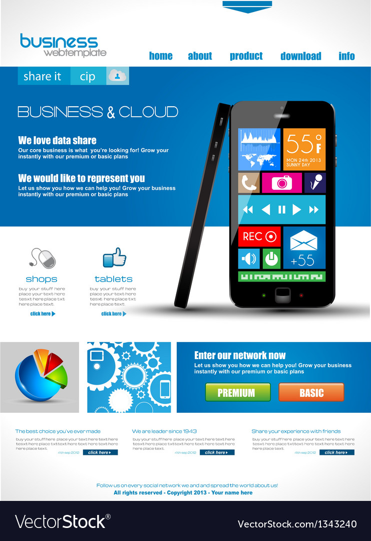 Website template for corporate business and cloud vector | Price: 3 Credit (USD $3)