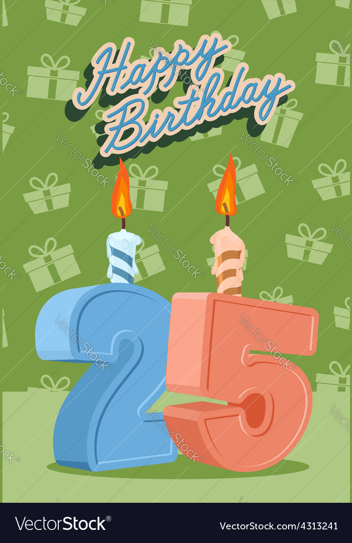 25 years celebration 25nd happy birthday vector | Price: 1 Credit (USD $1)