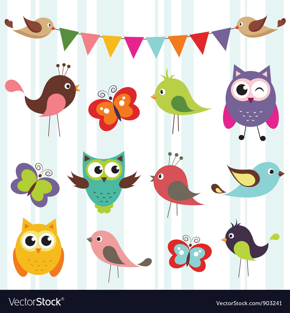 Birds and butterflies vector | Price: 1 Credit (USD $1)