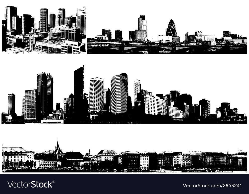 Black and white panorama cities art vector | Price: 1 Credit (USD $1)