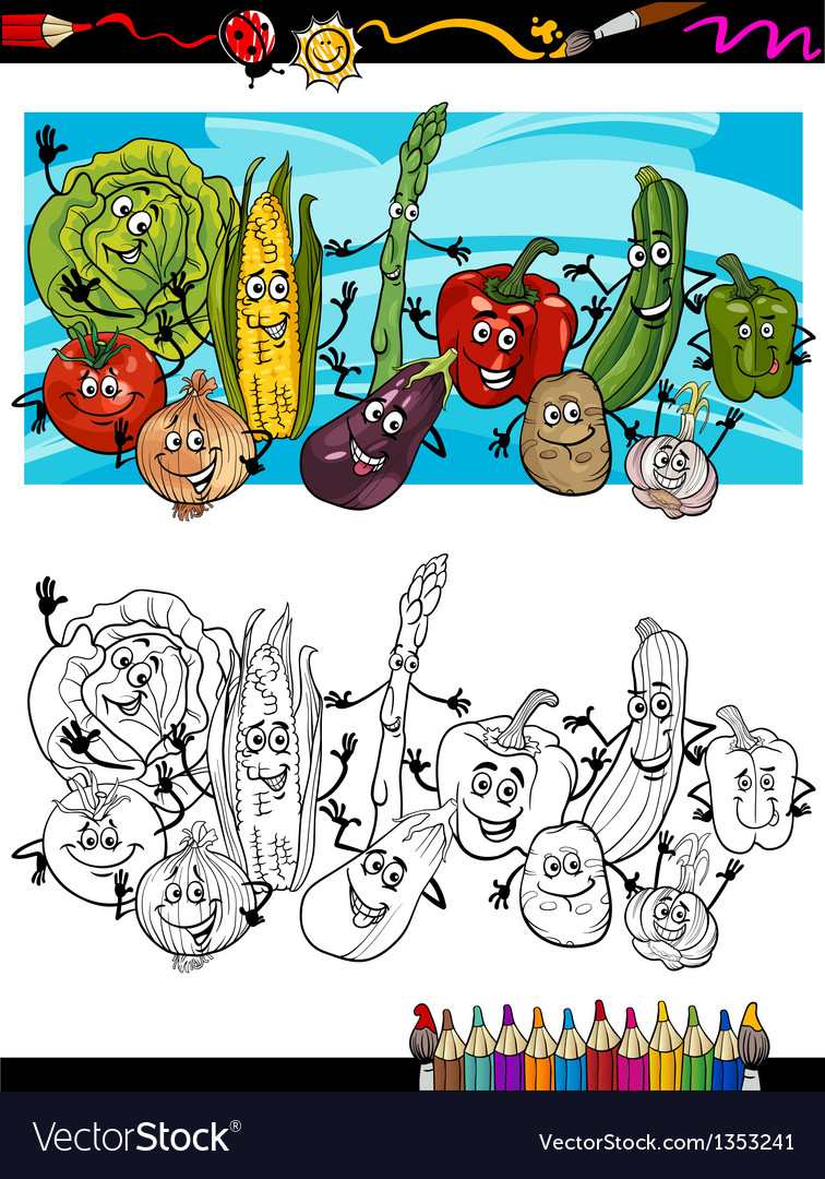 Comic vegetables cartoon for coloring book vector | Price: 1 Credit (USD $1)
