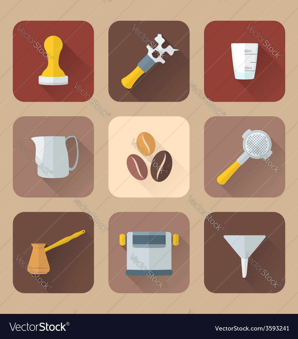 Flat style coffee barista instruments icons set vector | Price: 1 Credit (USD $1)
