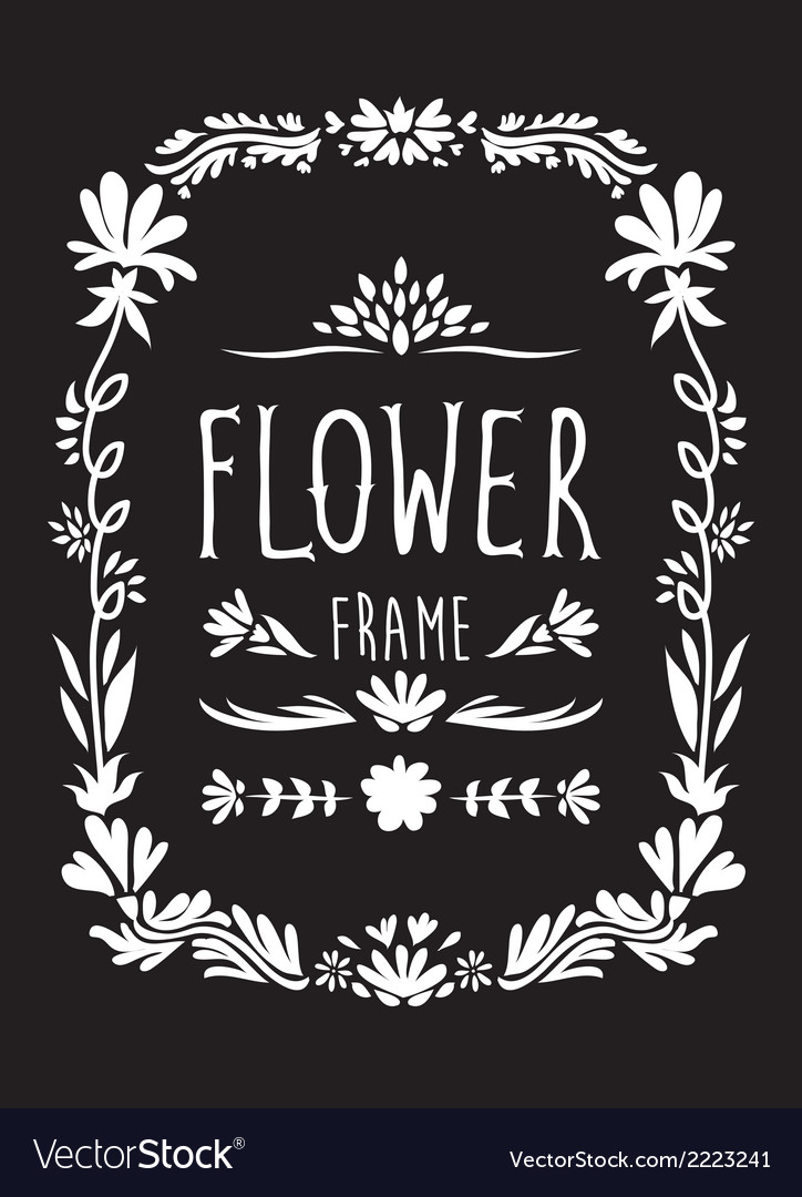 Flower frame hand drawn black and white vector | Price: 1 Credit (USD $1)