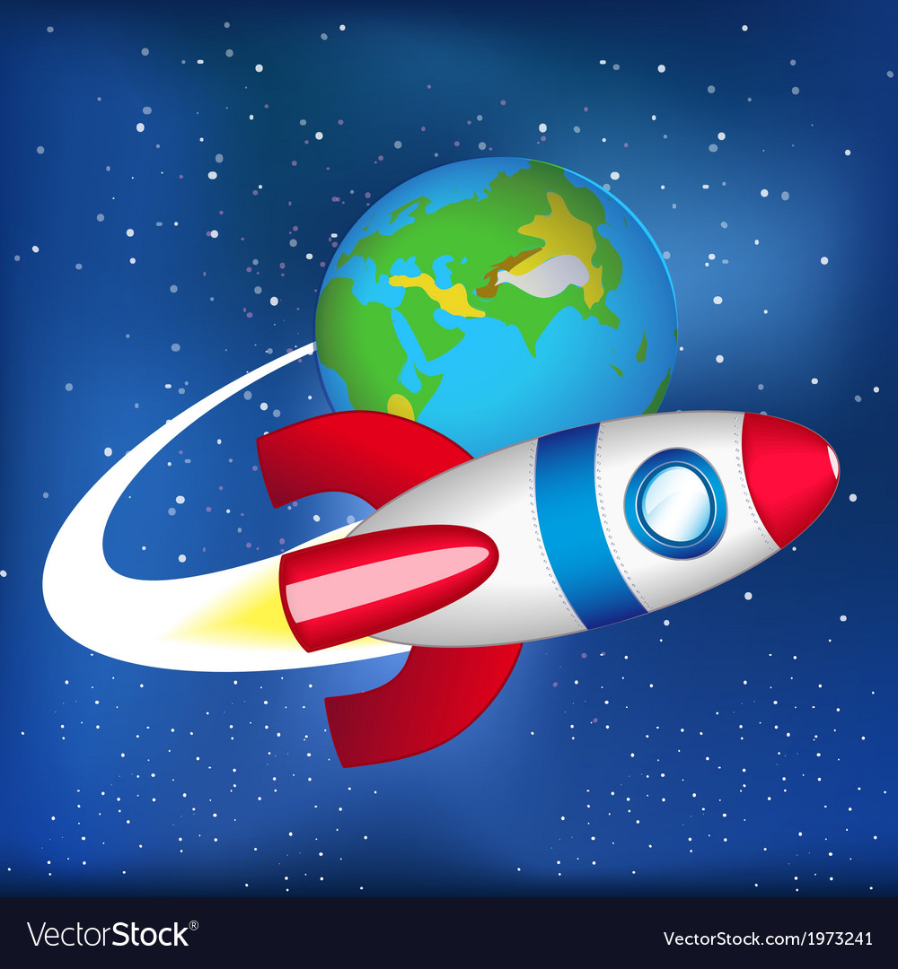 Flying spaceship in space vector | Price: 1 Credit (USD $1)