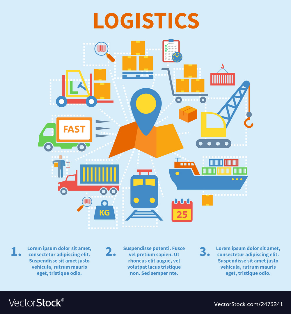 Logistic infographic icons flat vector | Price: 1 Credit (USD $1)