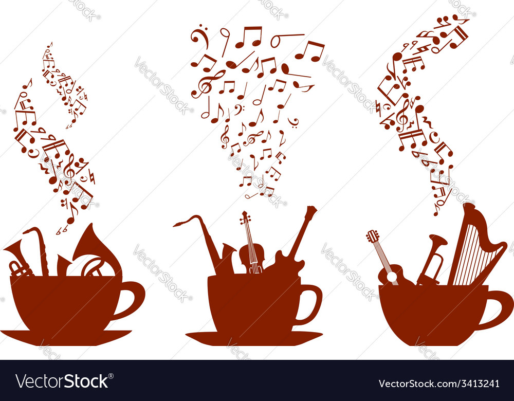 Musical cups of coffee vector | Price: 1 Credit (USD $1)