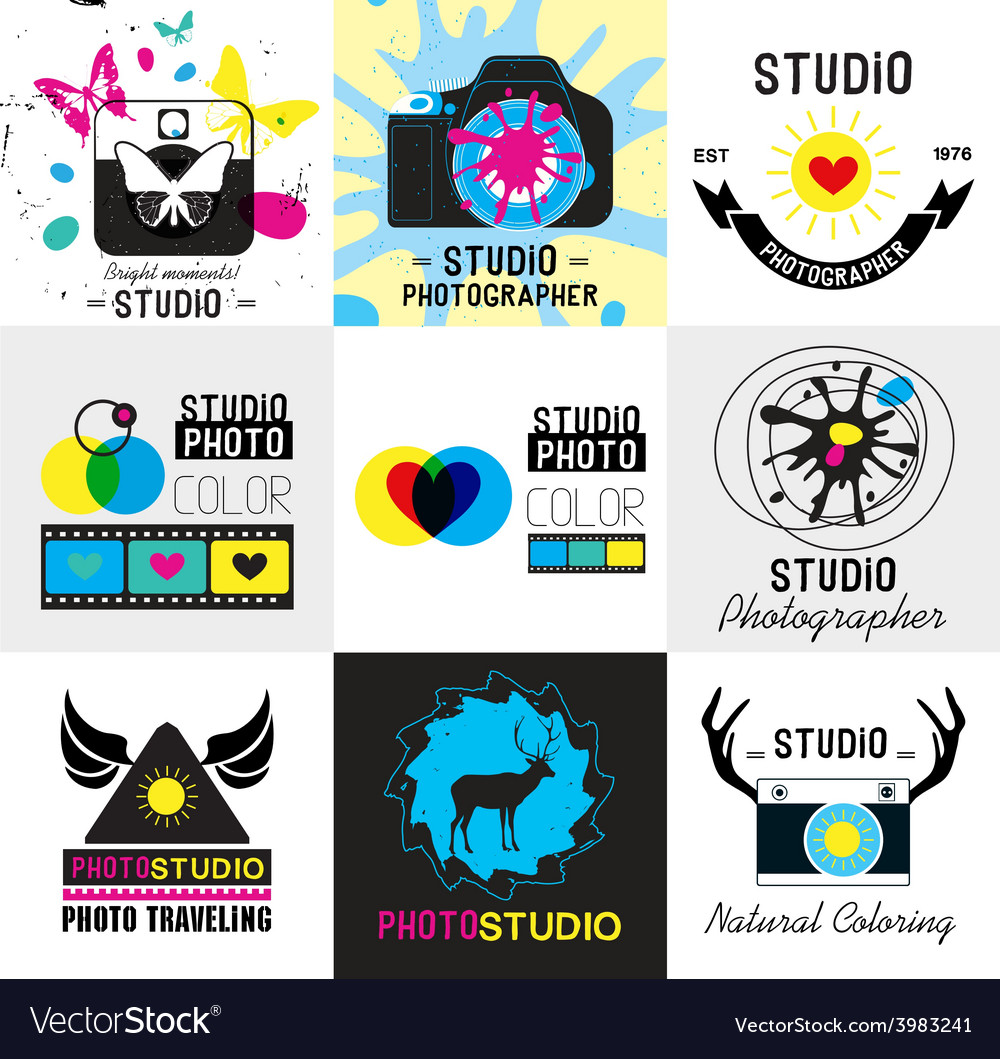 Set of vintage photo studio logo labels badges vector | Price: 1 Credit (USD $1)