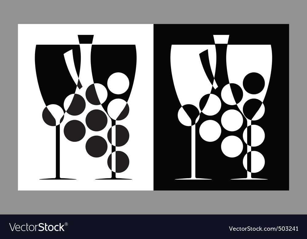 Wine glasses and bottle sign vector | Price: 1 Credit (USD $1)