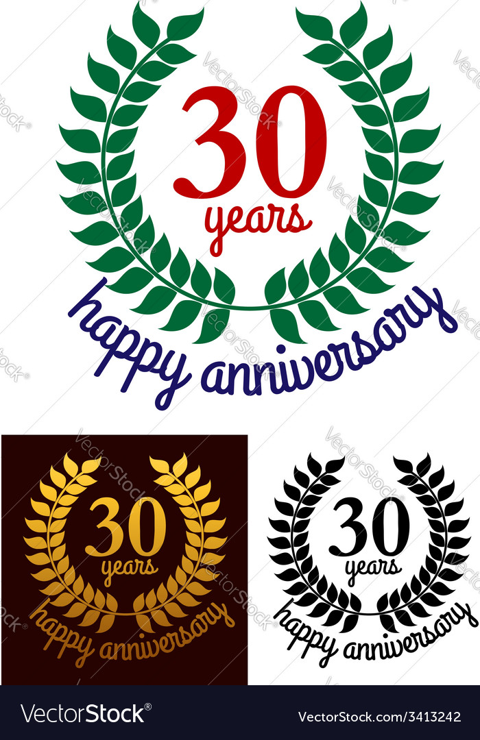 30 years happy anniversary wreath vector | Price: 1 Credit (USD $1)