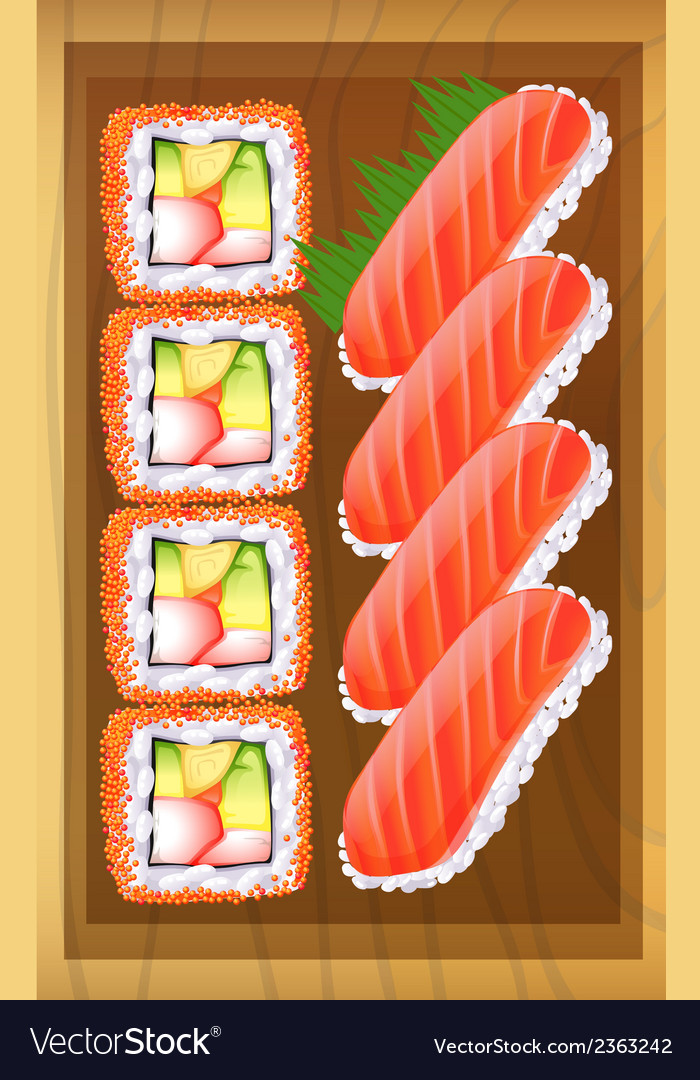 A topview of the different variants of sushi at vector | Price: 1 Credit (USD $1)