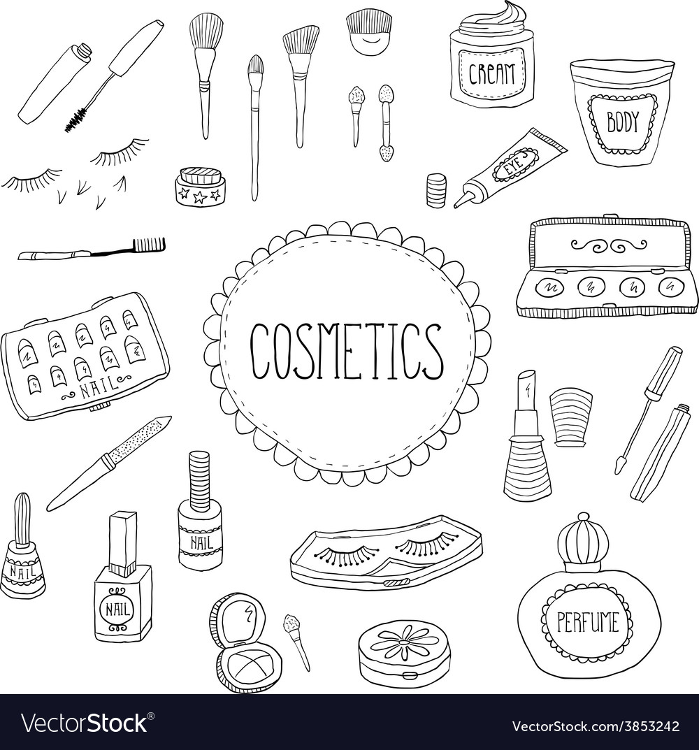 Beauty and cosmetics icons doodles vector | Price: 1 Credit (USD $1)