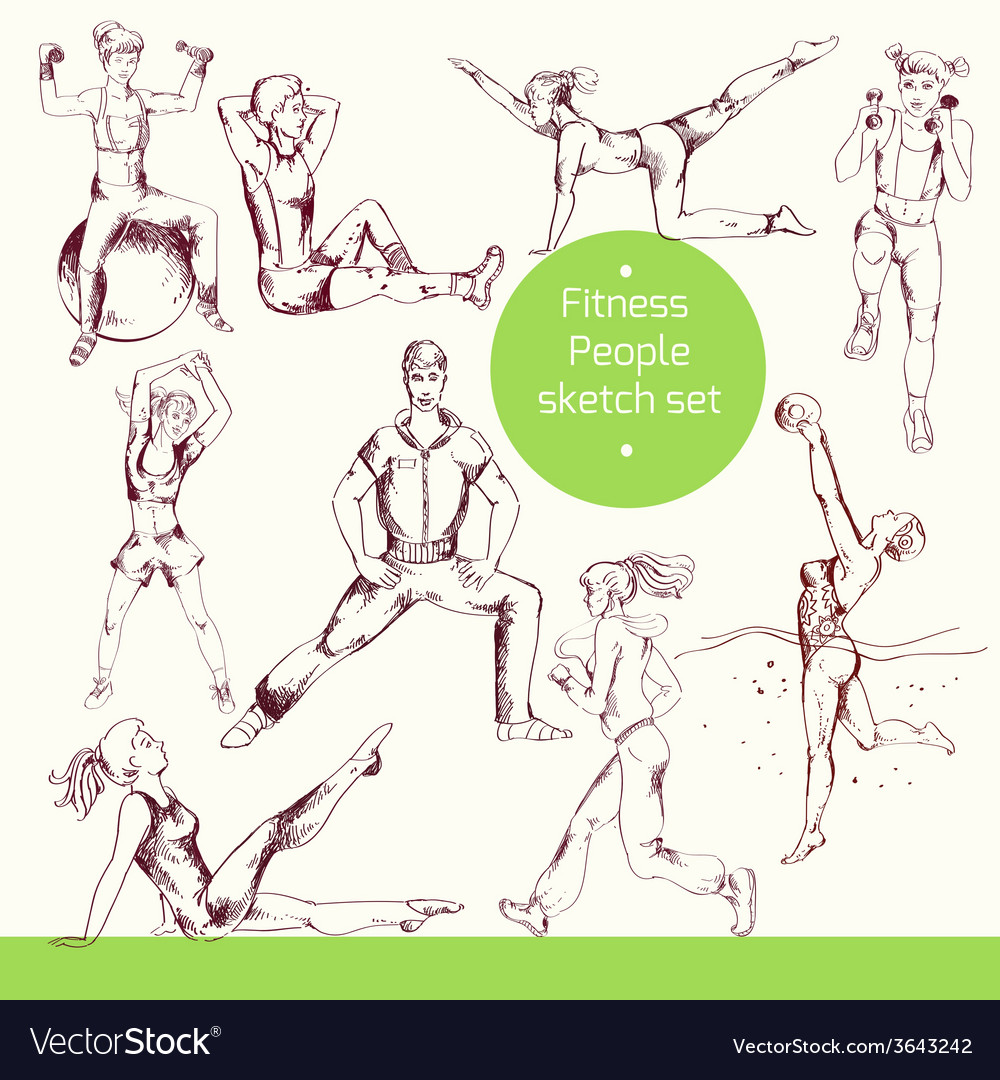 Fitness people sketch vector | Price: 1 Credit (USD $1)