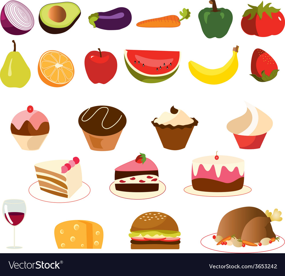 Food-set- vector | Price: 1 Credit (USD $1)