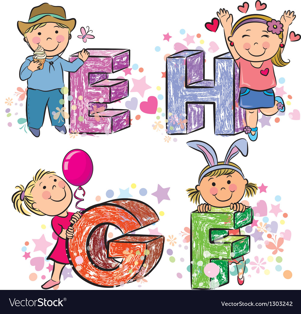 Funny alphabet with kids efgh vector | Price: 1 Credit (USD $1)