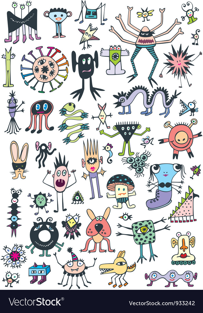 Funny cute monsters vector | Price:  Credit (USD $)