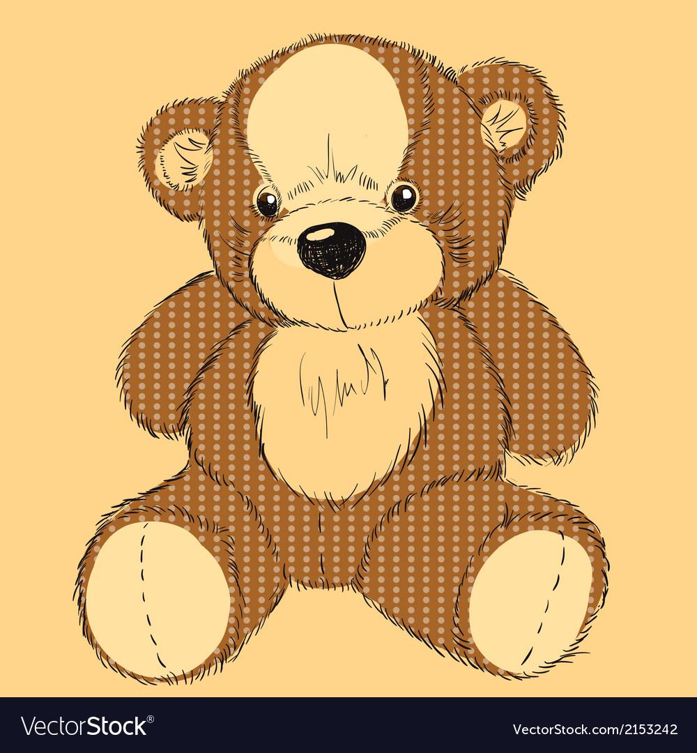 Hand drawn teddy bear vector | Price: 1 Credit (USD $1)