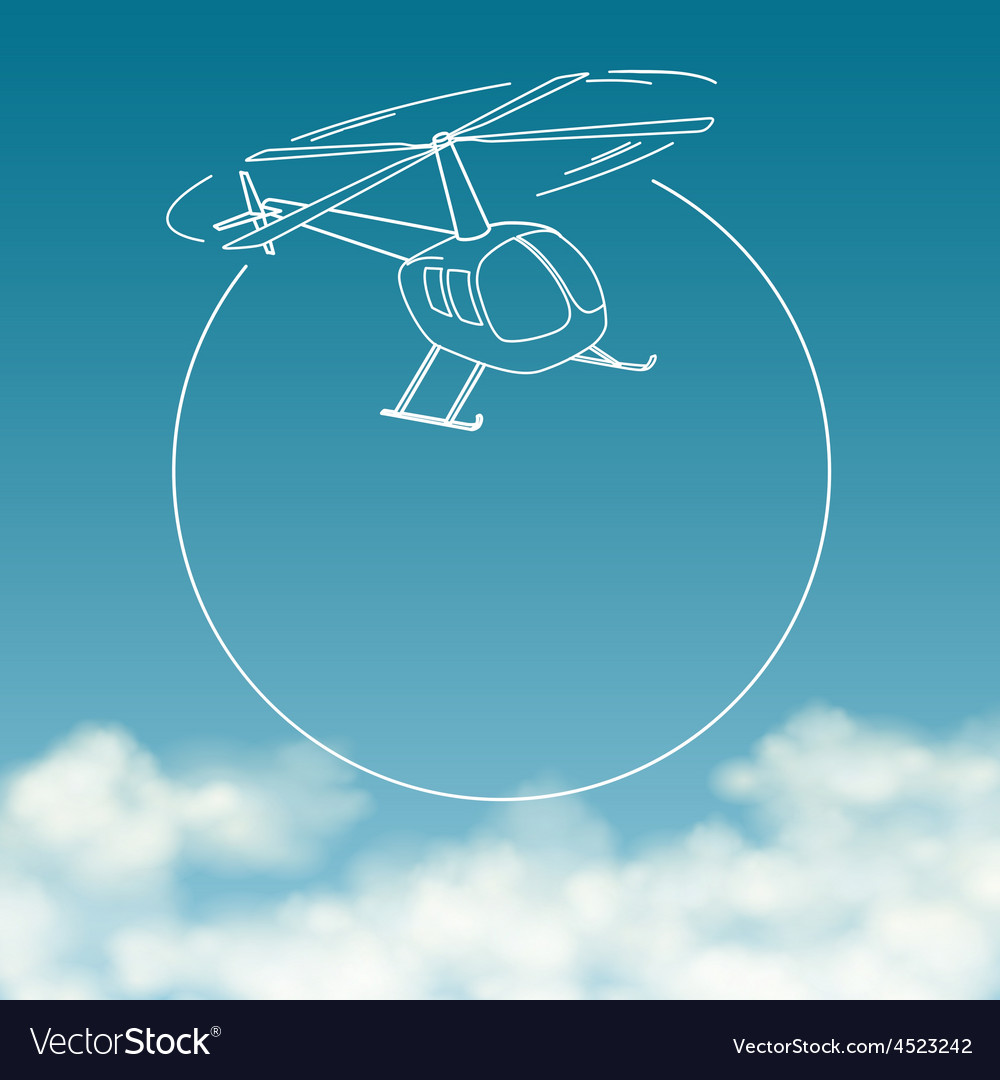 Helicopter on background of cloudy sky with space vector | Price: 1 Credit (USD $1)