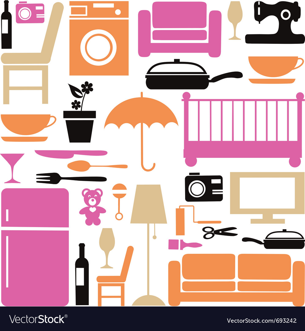 House furniture set vector | Price: 1 Credit (USD $1)