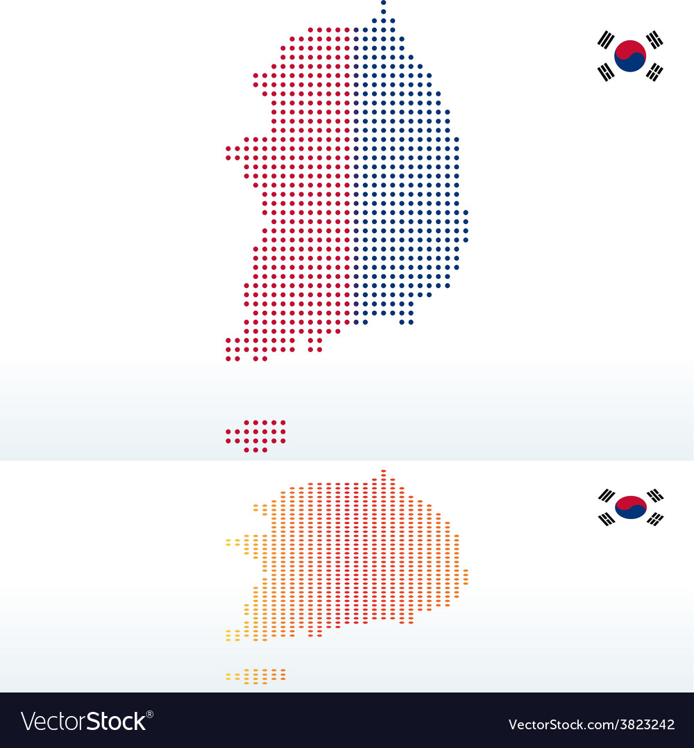 Map of republic of korea south korea with with dot vector | Price: 1 Credit (USD $1)