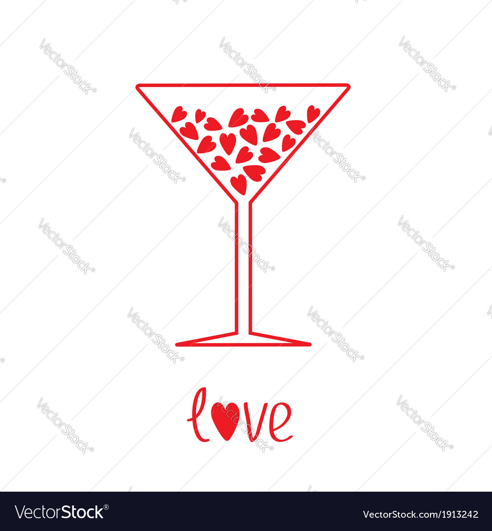 Martini glass with hearts inside card vector   Price: 1 Credit (USD $1)