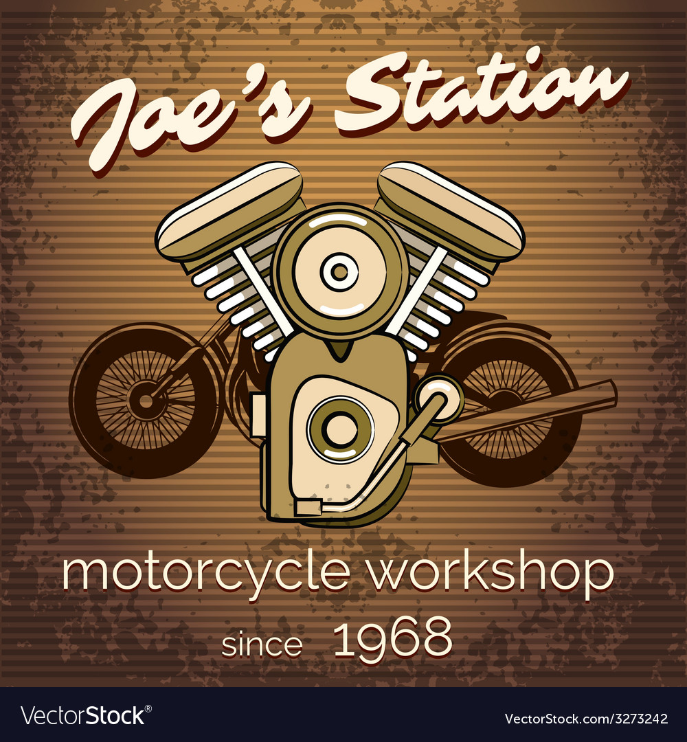 Motorcycle repair shop poster vector | Price: 1 Credit (USD $1)