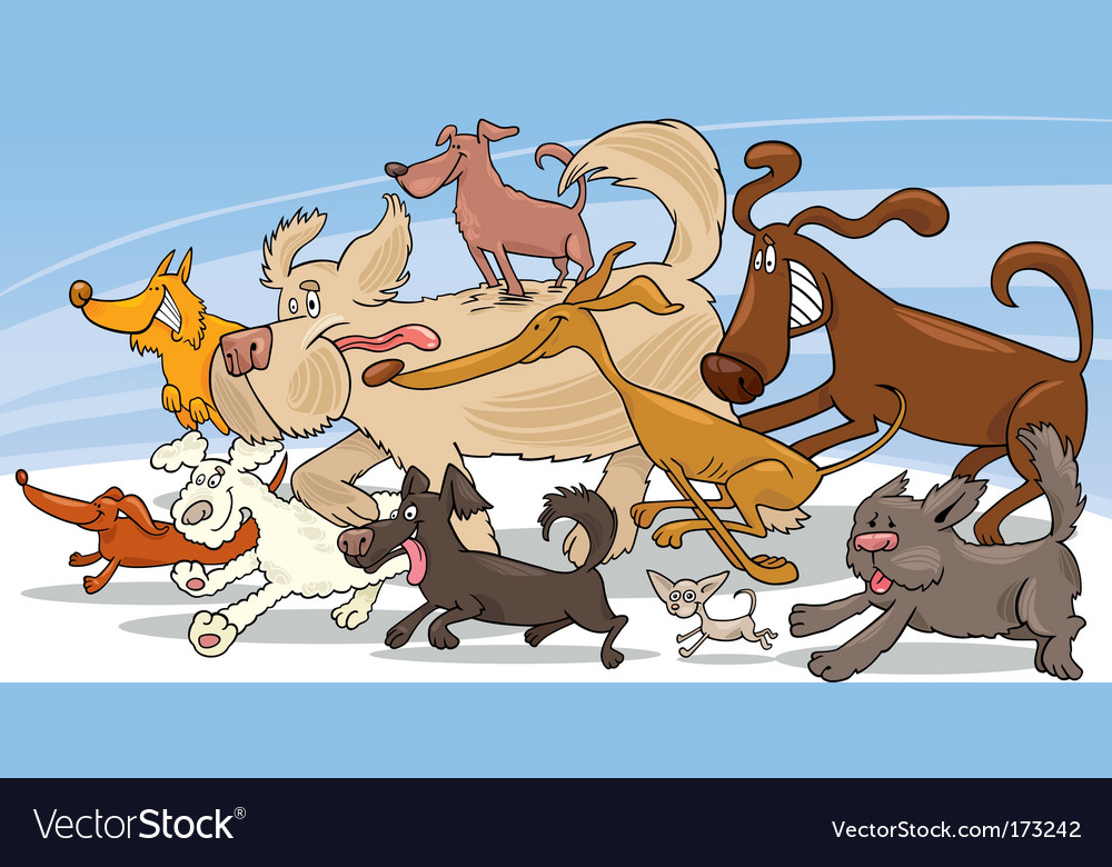 Running dogs vector
