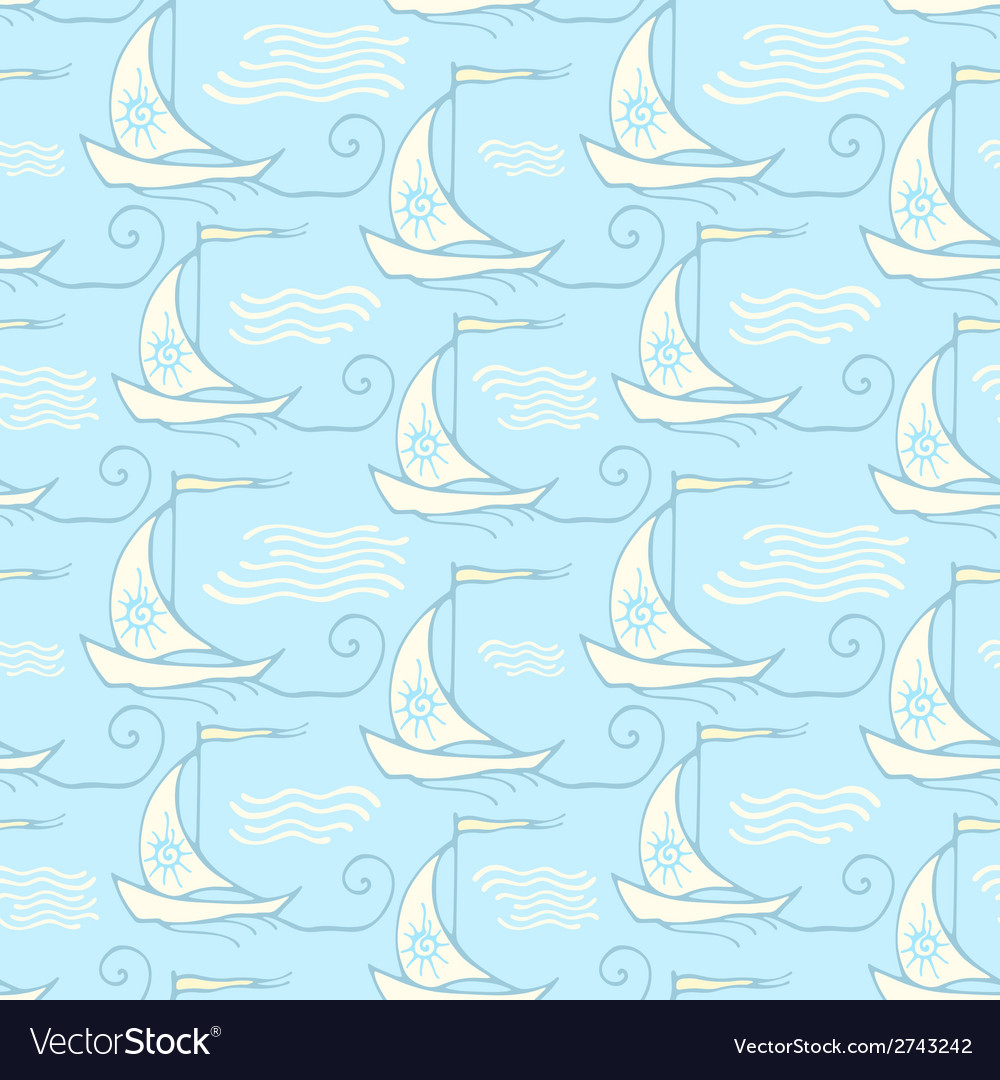 Seamless pattern with decorative retro sailing vector | Price: 1 Credit (USD $1)
