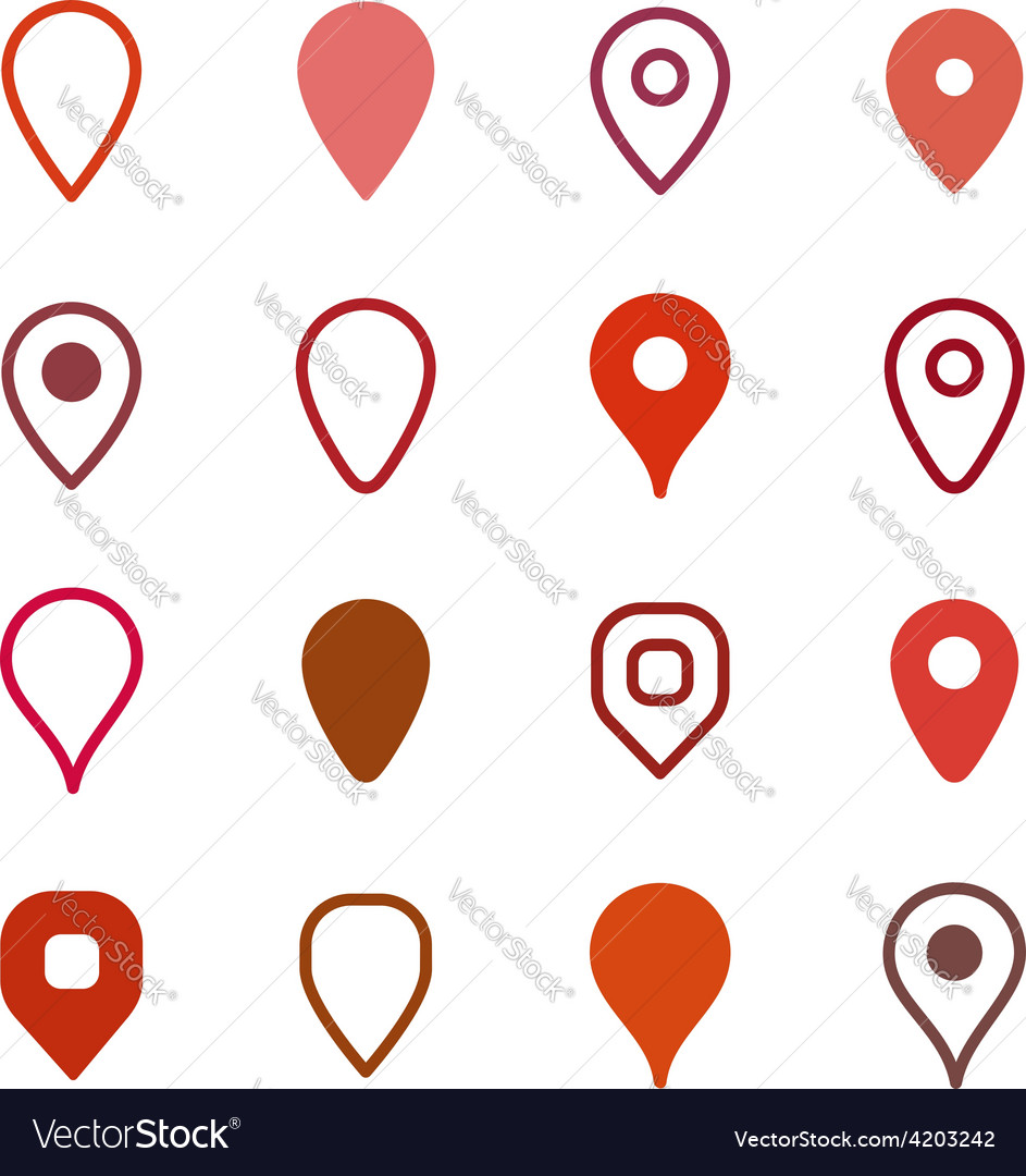 Set of map markers vector