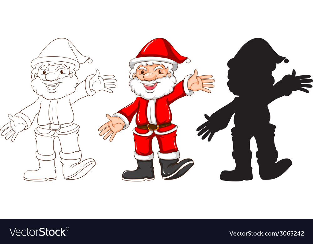 Sketches of santa claus in three different colours vector | Price: 1 Credit (USD $1)