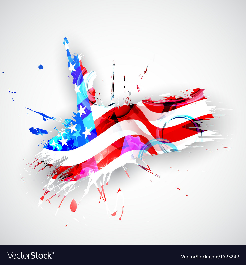 Statue of liberty with american flag vector | Price: 1 Credit (USD $1)