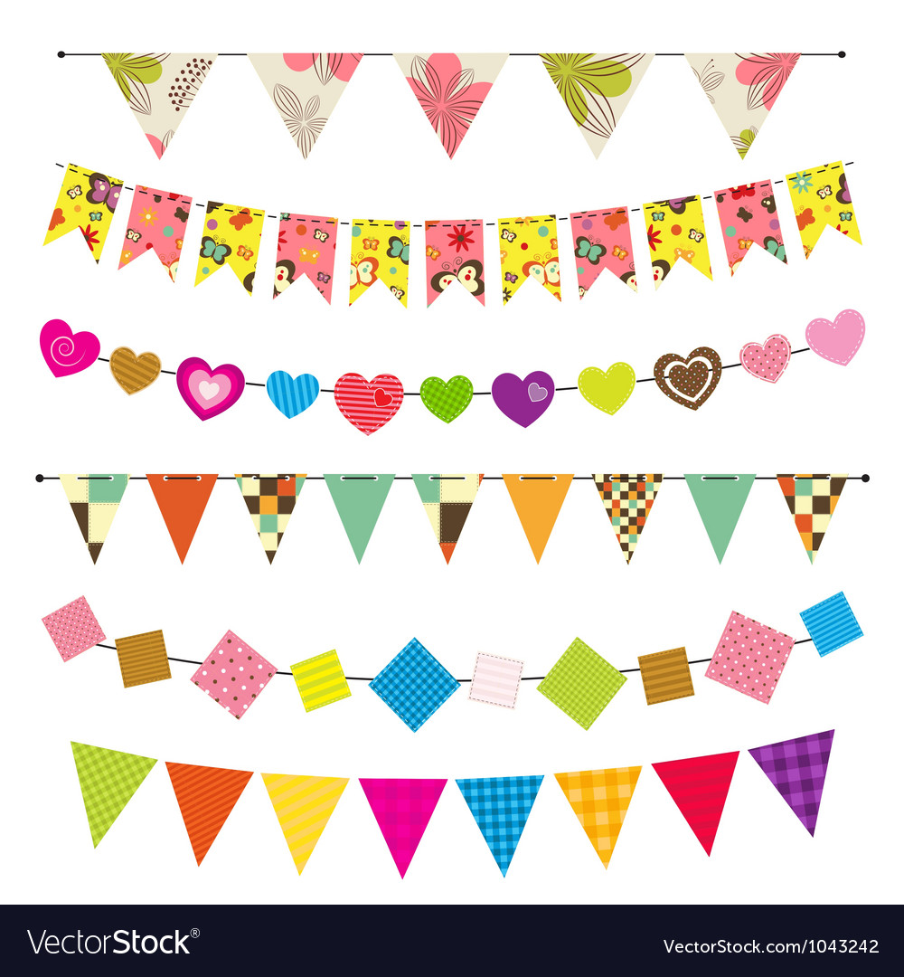 Textured bunting and garland set vector | Price: 1 Credit (USD $1)