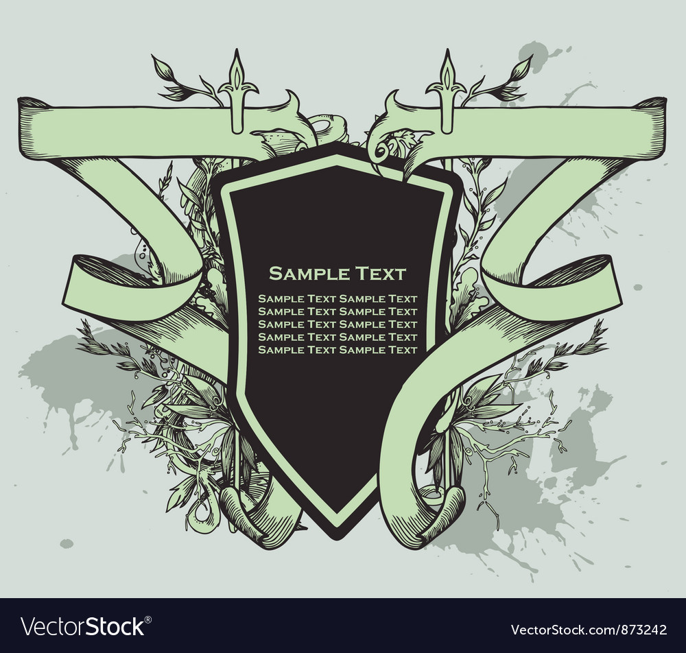Vintage crest with scroll vector | Price: 1 Credit (USD $1)