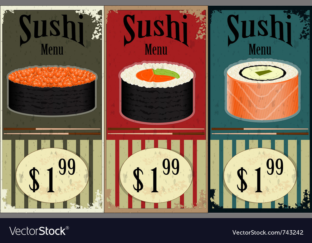 Vintage sushi labels vector | Price: 1 Credit (USD $1)
