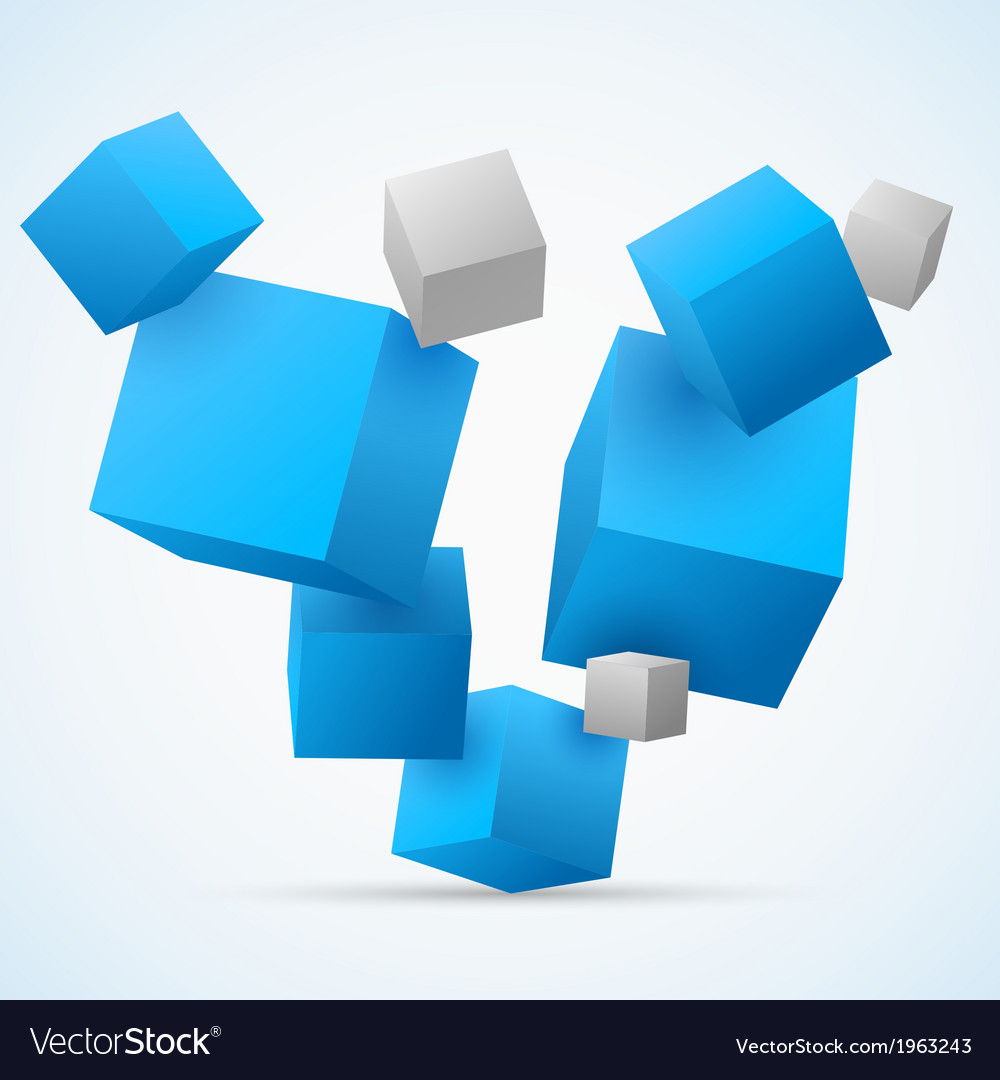 Abstract 3d cubes background vector | Price: 1 Credit (USD $1)