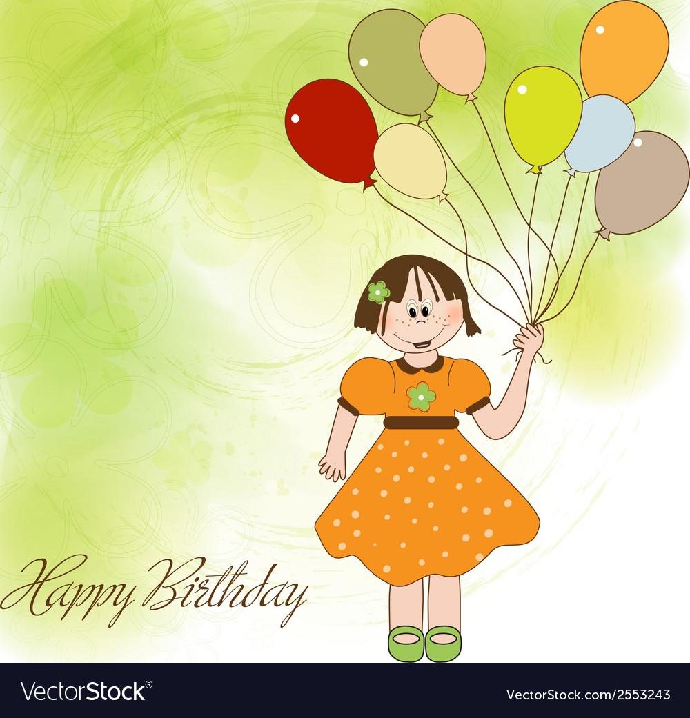 Birthday greeting card with girl vector | Price: 1 Credit (USD $1)