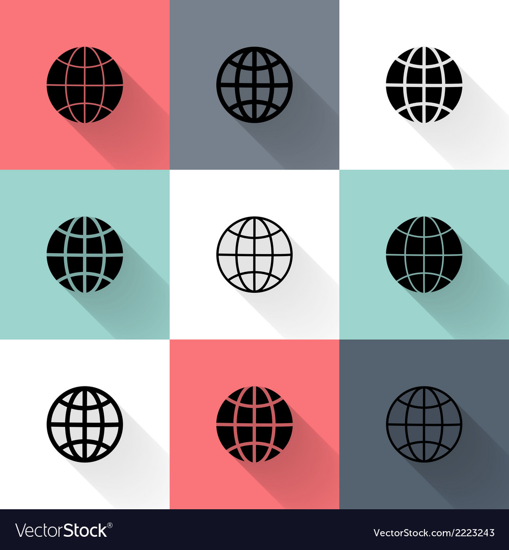 Black globe icon set vector | Price: 1 Credit (USD $1)
