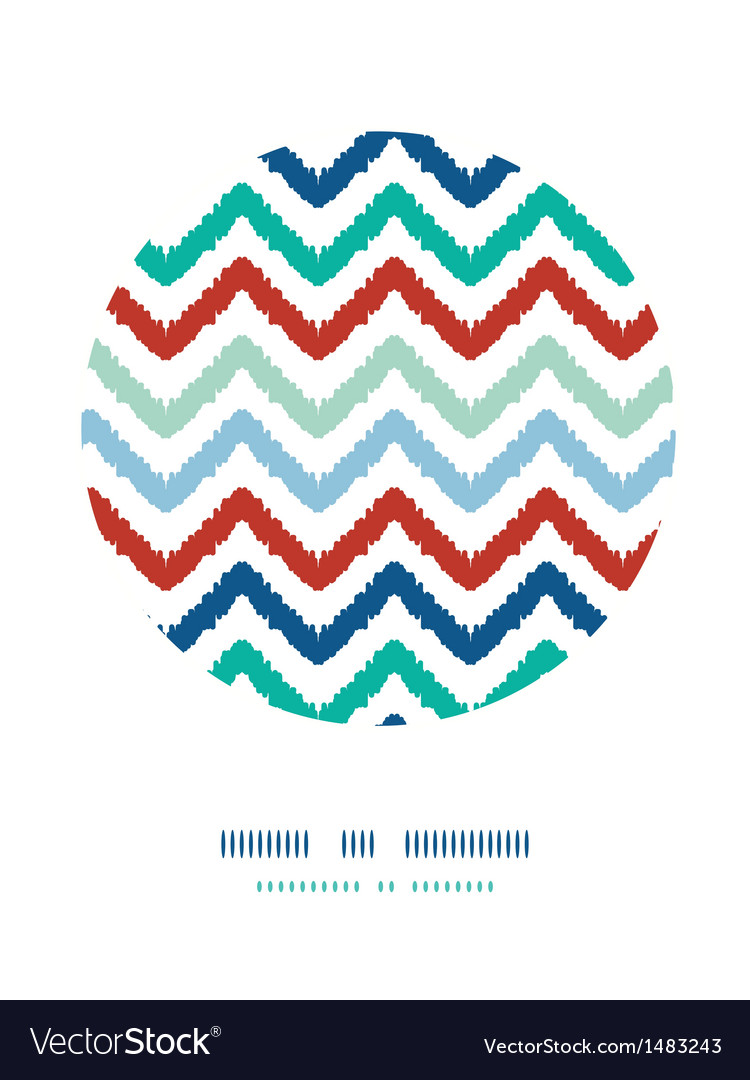 Colorful ikat chevron frame circle decor pattern vector | Price: 1 Credit (USD $1)