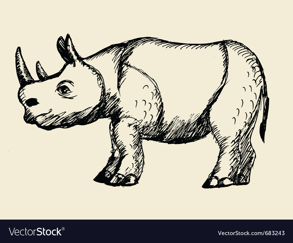 Hand drawn rhinoceros vector | Price: 1 Credit (USD $1)